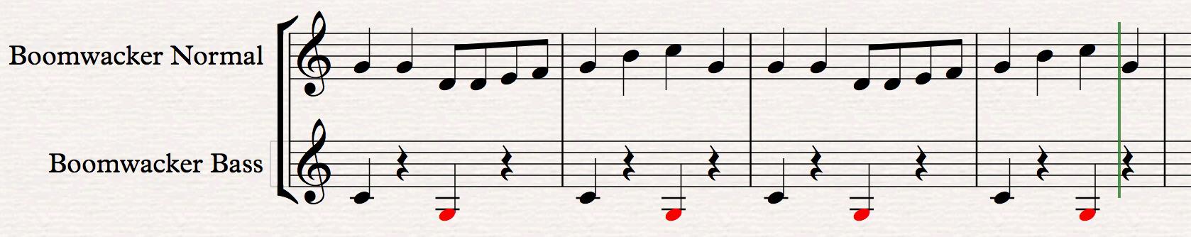 Een stukje muziekschrift dat de basis vormt voor de Boomwhacker partij