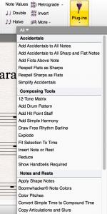 """Ga naar Sibelius Plugins en selecteer de """"Boomwhacker plugin"""""""